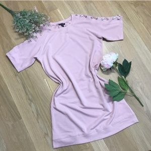 Alison Andrews | Tee Shirt Dress w/ Lace Up Sleeve